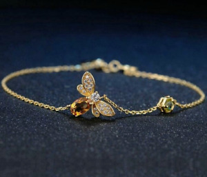 925 Silver Queen Of Bee Citrine Gem Animal Pageant Bangle Bracelet Wholesale