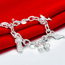 925 Sterling Silver Charm Round Bangle Women's Men Fashion Heart Bracelet DLH540