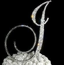 "Handmade Swarovski Clear Crystals 5"" Wedding Cake Topper Monogram Letter ""J """