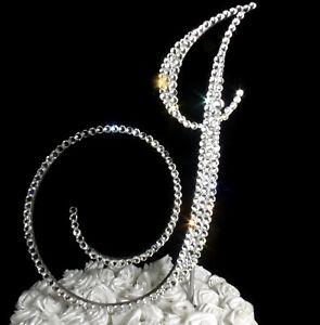 "Handmade Clear Crystals 5"" Wedding Cake Topper Monogram Letter ""J """