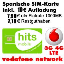 Spanische SIM Karte, Simkarte 3G, 4G, aktiviert inkl. 1GB, Vodafone Netz, card