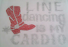 Iron-On Rhinestone Motif Transfer Hot Fix Clear & Red Line Dancing is my Cardio