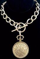 "Vintage Silver Tone Huge Floral Filigree Medallion Pendant w. 20"" Chain Necklace"