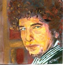 BOB DYLAN  ACRYLIC ON WATER COLOR PAPER 7 3/4  X  8 1/4