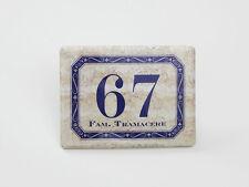 numero civico, targa ceramica in porcellana effetto marmo travertino 13x18