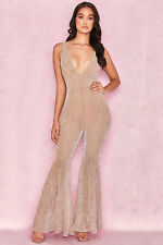 HOUSE OF CB 'Fallon' Champagne Lurex Kickflare Jumpsuit S 8 / 10 SS 18770