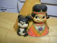 "Vintage Ceramic Tepee Bank   Girl With Dog  7"" X 5"""
