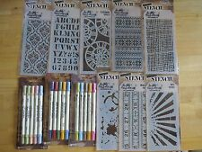 HUGE Tim Holtz Lot 16 ink Pads 15 markers 8 stencils 3 stamp sets 22 Idea-ology