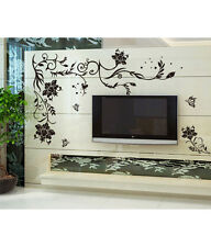6900017 | Wall Stickers for Living Room Black Large Floral Vine Butterflies