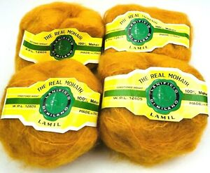 NOS VTG Lanificio Di Milano Yarn 100% Italian Mohair Lot 4 Skeins Balls Orange