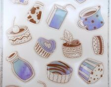 Kawaii drinks & snacks stickers! Milk, wafers, cake, cupcakes, bottles, cookies