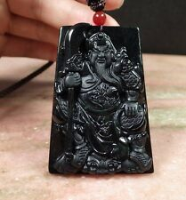 Certified Black Natural A Jade jadeite Pendant Guan Gong God Sword 墨翠 公关 415269