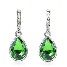 Silver Plated Green Austrian Crystal Water Drop Push Back Earrings Bridal Gift