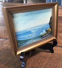 Signed Vintage Miniature Original Painting Of Ocean With Easel, Made In Spain