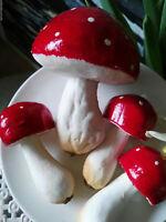 4 x Fliegenpilze Pilze Tupfen Deko Attrappen Dekoration Mushroom Rot Weiß große