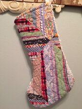 Vtg Quilt Christmas Stocking chenille patchwork handmade feedsack strip