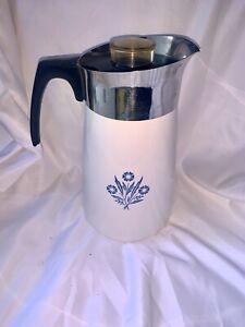 Vintage Corning Ware P-149 Blue Cornflower Stove Top 10 Cup Coffee Pot