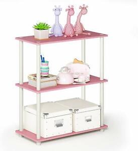 Shelf Pink & White w/ 3 Shelves CUTE! DISPLAY! STORAGE! STYLISH! ORGANIZATION!