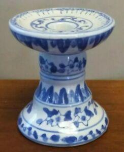 Vintage Porcelain Ceramic Blue & White Floral Pillar Taper Candle Holder