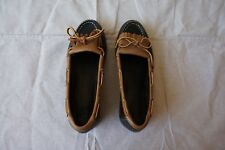 G H Bass & Co Womens 7 M Boat Shoes Loafers Brown two tone rawhide laces