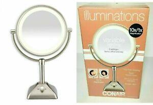 Illuminations Variable Lighting 10X/1X Mirror Satin Nickel Rotates 360° Conair