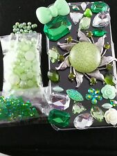 US Seller DIY 3D Bling Cell Phone Case Deco Kit: AB Jelly Rhinestone Green Sun