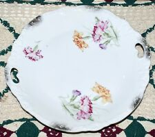 Vintage Two Handled China Plate With Carnation Designs & Gold Accents