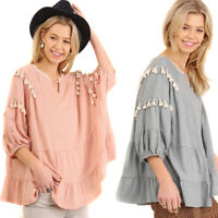 UMGEE Womens Boho Tassels Bohemain 3/4 Bubble Sleeves Blouse Top Shirt S M L