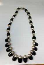 VTG Sterling Silver Taxco Mexico Modernist Black Onyx Link Necklace