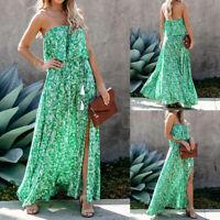 Women Sexy Summer Leaf Print Ruffle Long Dress Off-shoulder Side Slit Maxi Skirt