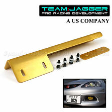 PREDRILLED JDM LOOK LEFT RIGHT FRONT LICENSE PLATE RELOCATOR BUMPER GRILLE GOLD