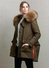 Warm Womens Raccoon Fur Hood Down Coat Parka Large Real Fur Jacket Winter New