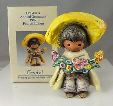 TED DEGRAZIA Signed 1989 Boy with Flowers Ornament GOEBEL Porcelain in Box