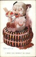 GE Studdy Bonzo Dog Fantasy Series Eating Ice Cream Sundae c1915 Postcard