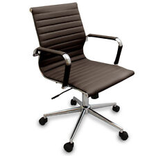 New Coffee Brown Modern Ribbed Office Chair - Computer Desks & Conference Rooms