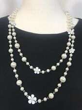 Designer Inspired Necklace Pearls Flowers Silver Tone Pearls Long Reversible NEW