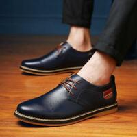 2018 Men Casual Leather Shoes Lace-up Sneakers Oxford British Style Formal Dress