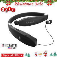 Black Retract Stereo Sport Headset Wireless Headphone Earbud Foldable US Seller