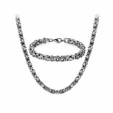 8mm Stainless Steel Punk Biker Byzantine Chain Mens Bracelet Necklace Set 22-26""