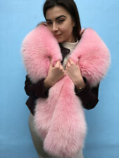 Baby Pink Arctic Fox Fur Stole Boa 75' Inch. Saga Fox Furs Collar Wrap Big Scarf