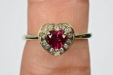 Heart Shaped Ruby Ring with Diamond Halo in 10k Solid Yellow Gold .62 ct Size 7