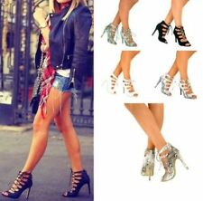 Leather Stiletto Strappy Heels for Women