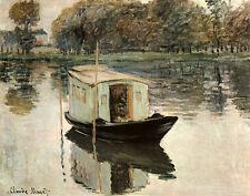 Das Atelierboot Claude Monet Hausboot Fluss Sonneneffekte Bütten H A3 0429