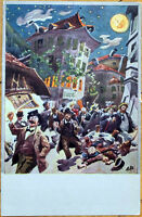 1910 Distorted View Artist-Signed Postcard: Drunk Men/Moon, Bolzano, Italy