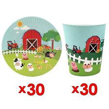 30pcs Farm Animals Paper Plate & 30pcs Cup Tableware Set Party Supplies