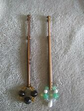 Pair Of Wooden Lace Bobbins Multi Coloured