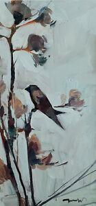 JOSE TRUJILLO Oil Painting IMPRESSIONISM BIRD ORIGINAL MODERN ARTIST VERTICAL NR