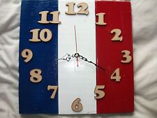 Upcycled Pallet Wood Wall Clock With French Flag
