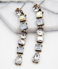 Handmade gray  Crystal Ear Drop Dangle Stud Ancient Silver long Earrings