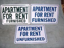 Lot of 3 Vintage Apartment for Rent Furnished Metal Signs Austin Texas Building